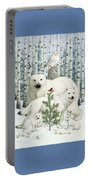 White Animals Red Bird Portable Battery Charger