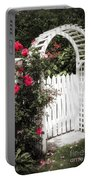 White Arbor With Red Roses Portable Battery Charger