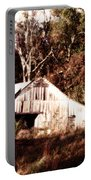 White Barn In Autumn Portable Battery Charger