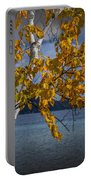White Birch Tree In Autumn Along The Shore Of Crystal Lake Portable Battery Charger