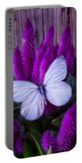 White Butterfly On Flowering Celosia Portable Battery Charger