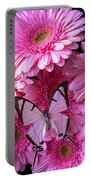 White Butterfly On Pink Gerbera Daisies Portable Battery Charger