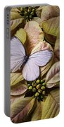 White Butterfly On Poinsettia Portable Battery Charger