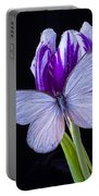 White Butterfly On Purple Tulip Portable Battery Charger