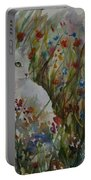 White Cat In Flowers Portable Battery Charger