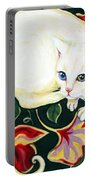 White Cat On A Cushion Portable Battery Charger
