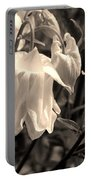 White Columbine Lanterns Monochrome Horizontal Portable Battery Charger