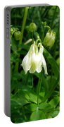 White Columbine On Green Portable Battery Charger