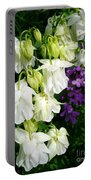 White Columbine With Purple Phlox Portable Battery Charger