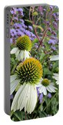 White Coneflowers Portable Battery Charger