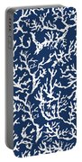 White Coral On Blue Pattern Portable Battery Charger
