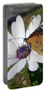 White Daisy And Butterfly Portable Battery Charger