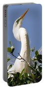 White Egret In Spring Portable Battery Charger