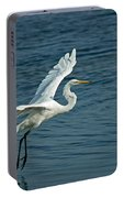 White Egret Landing Portable Battery Charger