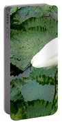 White Egret On Lilypads Portable Battery Charger