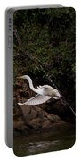 White Egret's Approach   #0615 Portable Battery Charger