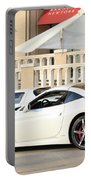 White Ferrari At The Store Portable Battery Charger