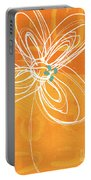White Flower On Orange Portable Battery Charger