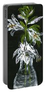 White Flowers Portable Battery Charger