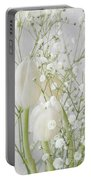 White Flowers Pii Portable Battery Charger