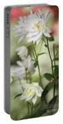 White Frilly Columbines Portable Battery Charger