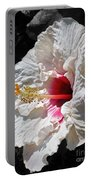 White Hibiscus Portable Battery Charger