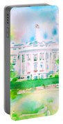 White House - Watercolor Portrait Portable Battery Charger