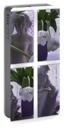 White Lace Picture Window Portable Battery Charger