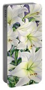 White Lilies Portable Battery Charger