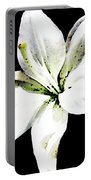 White Lily - Elegant Black And White Floral Art By Sharon Cummings Portable Battery Charger by Sharon Cummings