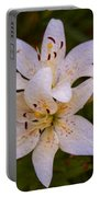 White Lily Starburst Portable Battery Charger