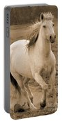 White Mare Approaches Number One Close Up Sepia Portable Battery Charger