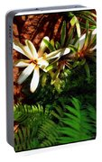 White Maui Flowers Portable Battery Charger