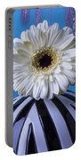 White Mum In Striped Vase Portable Battery Charger