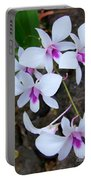 White Orchid Cluster With Hot Pink Portable Battery Charger