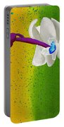 White Orchids On Yellow And Green Portable Battery Charger