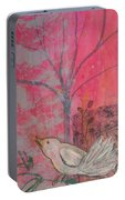 White Peace Bird On Pink Portable Battery Charger