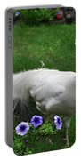 White Peacock In Our Garden Portable Battery Charger