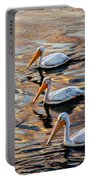 White Pelicans  In Golden Water Portable Battery Charger