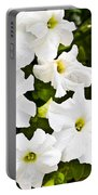 White Petunias Portable Battery Charger