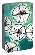 White Petunias- Floral Abstract Painting Portable Battery Charger