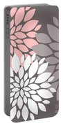 White Pink Gray Peony Flowers Portable Battery Charger