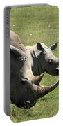 White Rhino Mother And Calf Portable Battery Charger by Aidan Moran