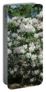 White Rhododendron Blooming In The Garden Portable Battery Charger