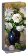 White Rose Elegance Portable Battery Charger