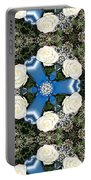 White Roses And Babys Breath Kaleidoscope Portable Battery Charger