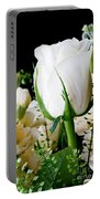 White Roses Close Up Portable Battery Charger