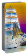 White Sails Ship And Colorful Background Portable Battery Charger
