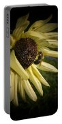 White Sunflower And Bee Portable Battery Charger