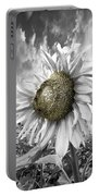 White Sunflower Portable Battery Charger